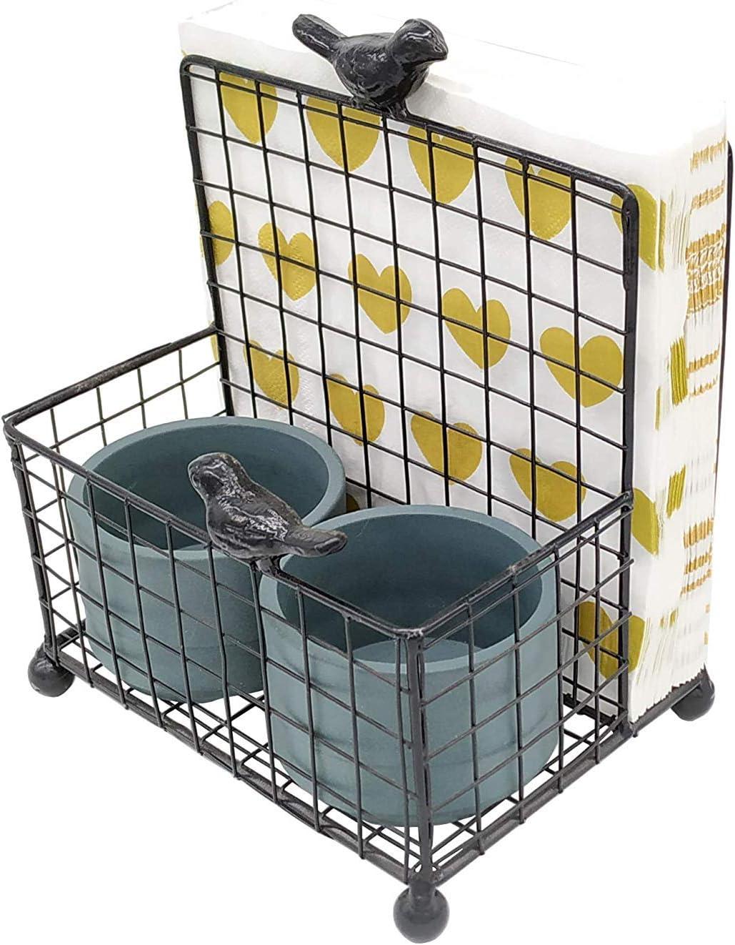 OwlGift Black Salt & Pepper Holder and Napkin Holder, Condiments Storage Organizer for Kitchen Countertops and Dinning Table, Black