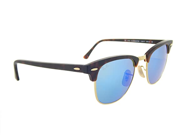 8aa3489d9d2 Amazon.com  New Ray Ban Clubmaster Flash RB3016 114517 Tortoise Grey Mirror  Blue 51mm Sunglasses  Shoes