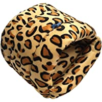 WowowMeow Small Animals Warm Cage Hanging Cave Bed for Chinchillas, Guinea Pigs, Hamsters, Rats, Squirrel and Rabbits (S, Leopard)