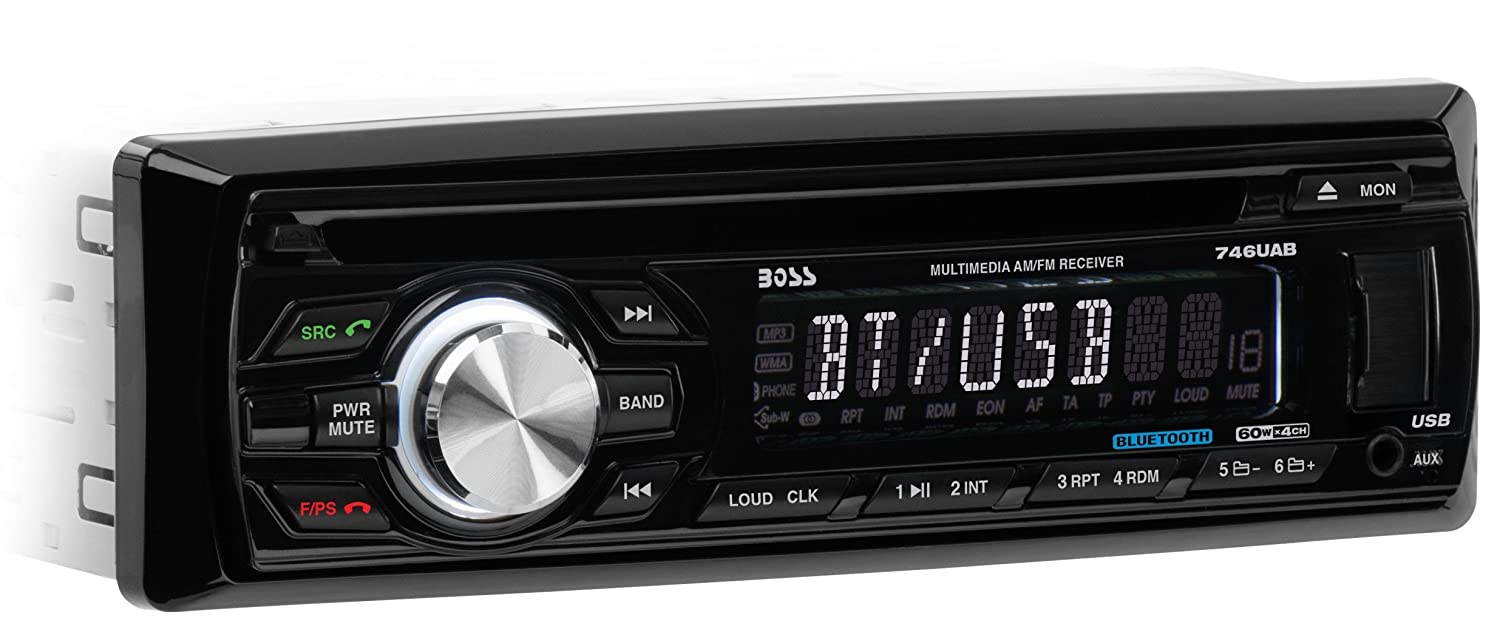 Amazon.com: BOSS AUDIO 746UAB Single-DIN CD/MP3 Player Receiver, Bluetooth,  Detachable Front Panel, Wireless Remote: Car Electronics