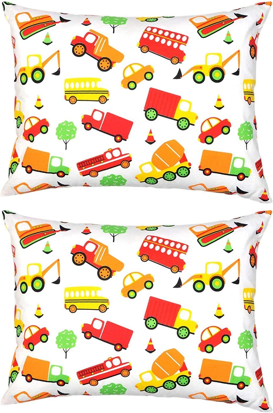 Cars and Boats 2 Pack Naturally Hypoallergenic YourEcoFamily Toddler Pillowcases 100/% Certified Organic Cotton Soft Comfy