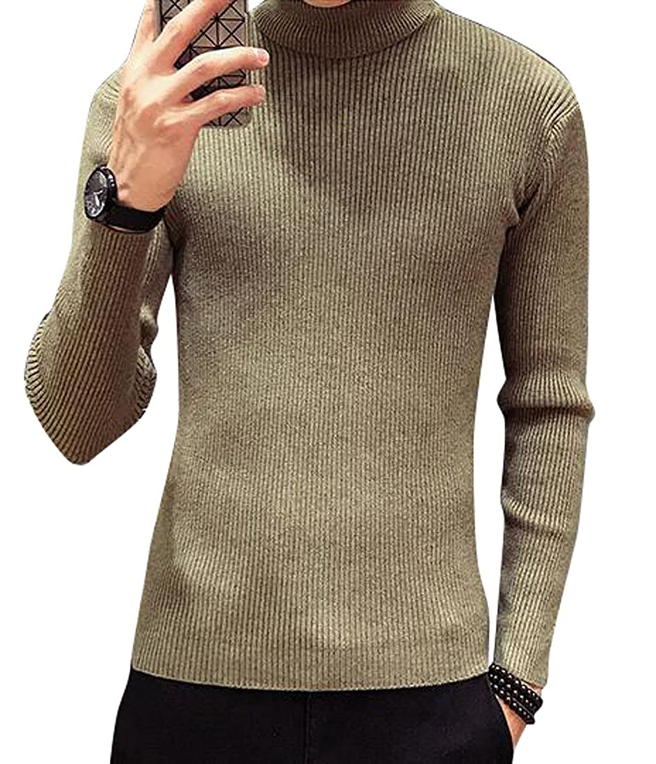 Fensajomon Mens Solid Turtleneck Long Sleeve Pullover Thermal Sweater Jumper Army Green M
