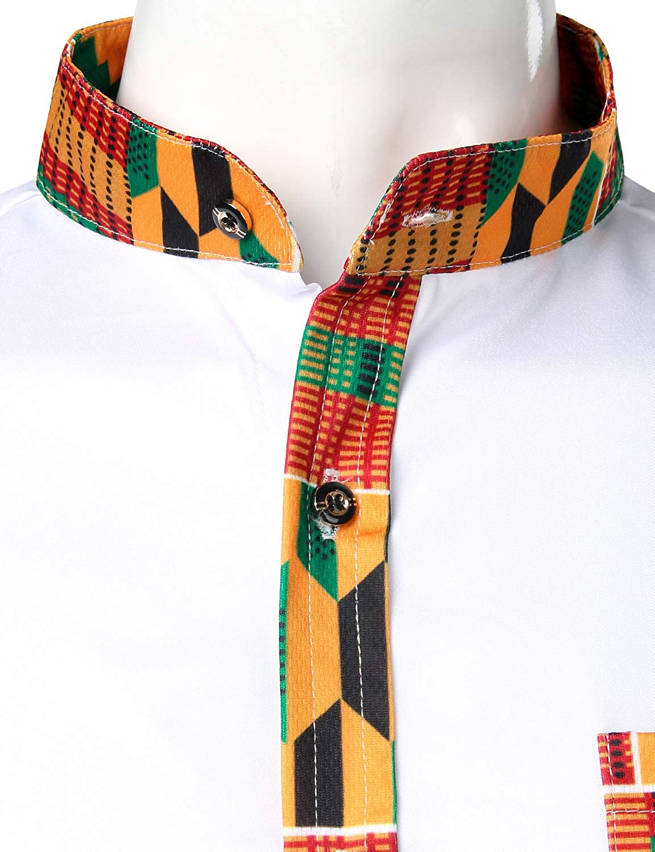 ZEROYAA Mens Hipster African Tribal Graphic Patchwork Design Slim Fit Long Sleeve Button up Mandarin Collar Shirts