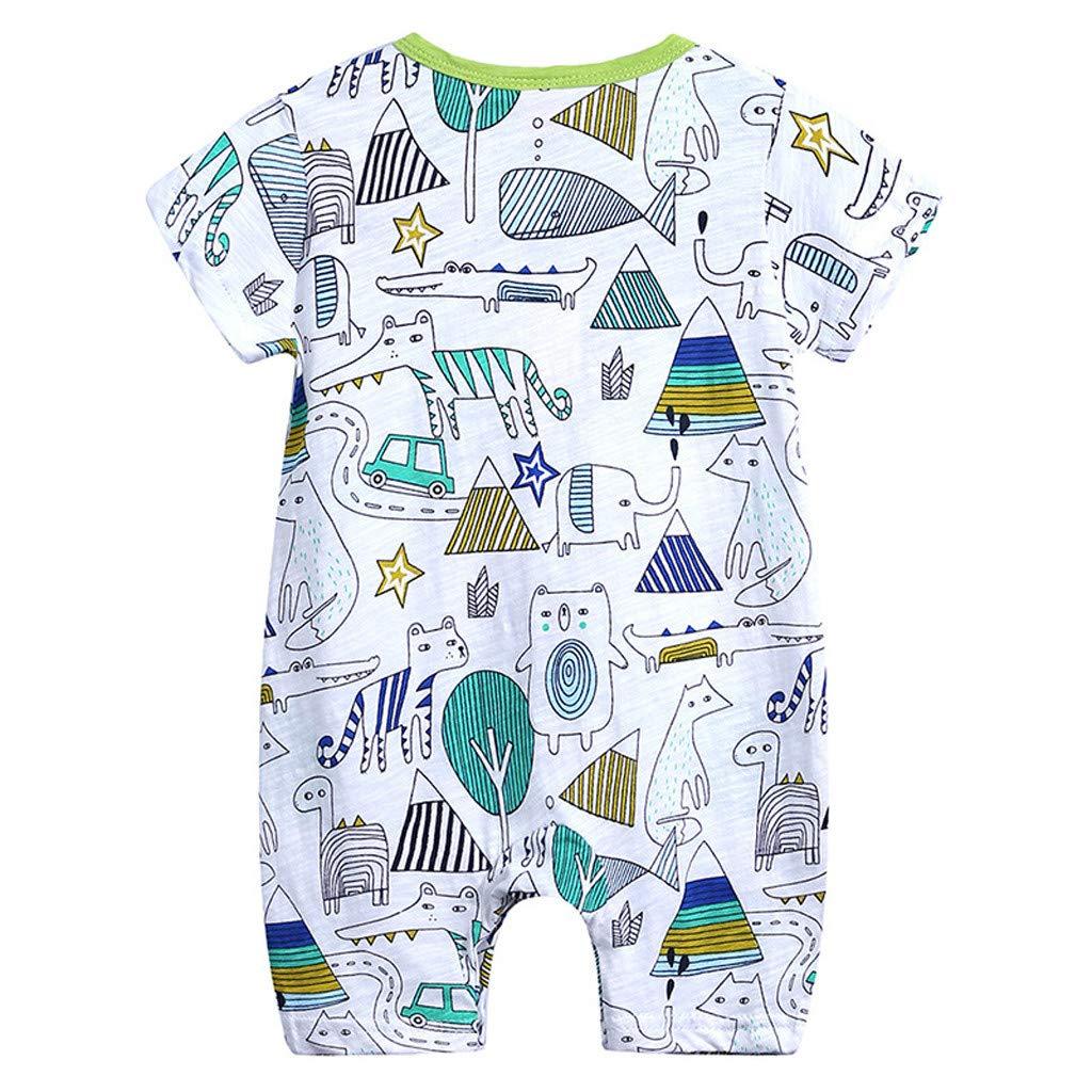 Toddler Newborns Girls Boys Cute Cartoon Floral Print BabySuits Outfits Short Sleeve Sleepwear RomperJumpsuits (Green, 6-9 M)