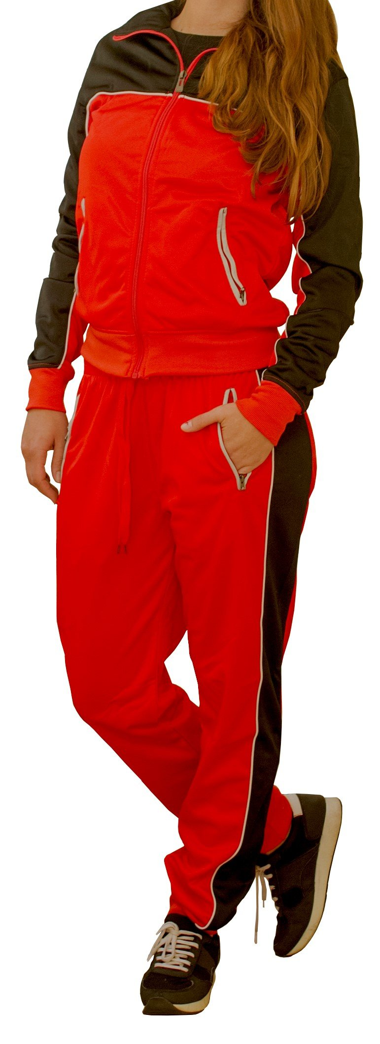 Women Two Tone Activewear Sports Jogger Track Set Gym Outfit (Red/Black, 2XL)