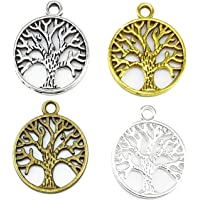 Zhichengbosi Pack of 40 Alloy Tree of Life Charms Pendents Jewelry Findings for Making Bracelet and Necklace