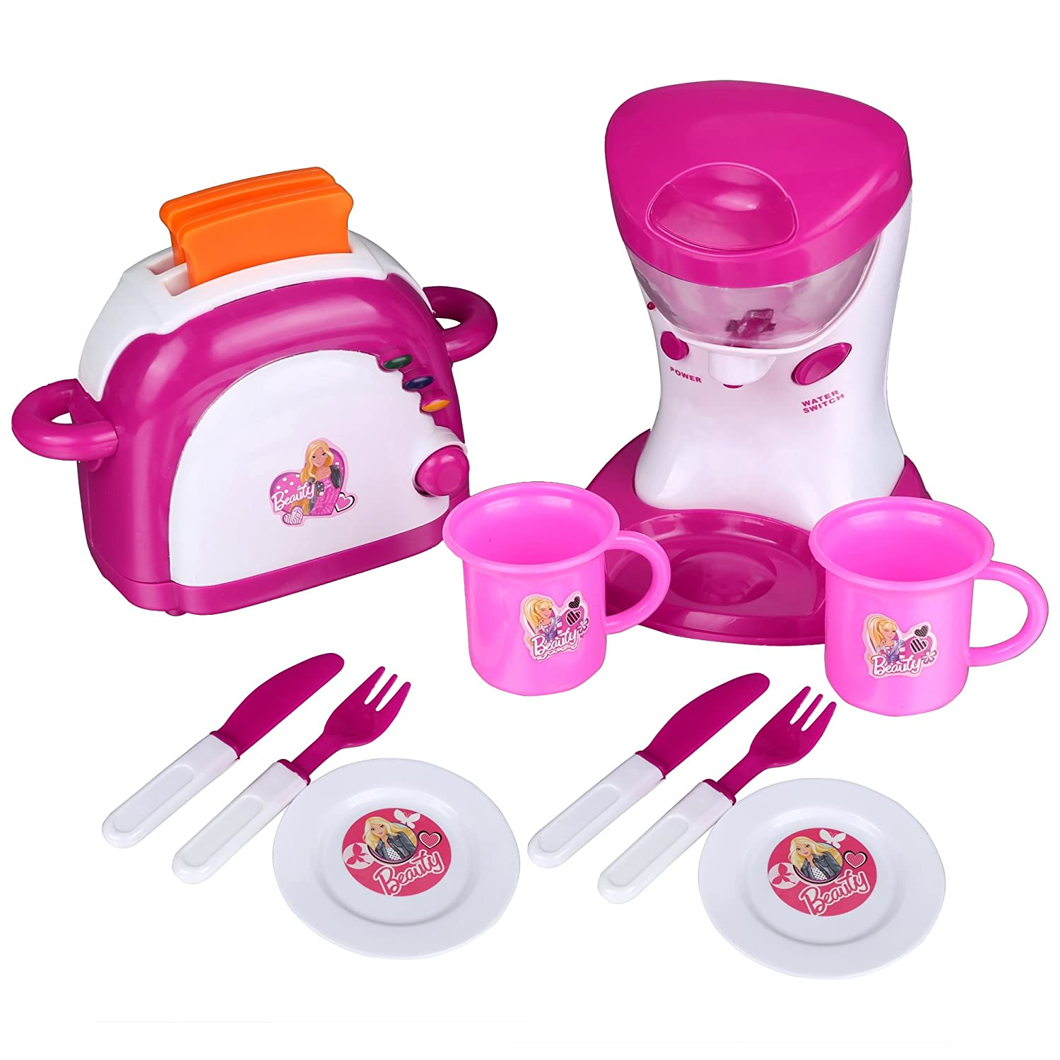 12 PCS Pretend Play Kitchen Electric Cooking Tool Set with Light & Sound for Kids, Including Mixer Appliance and Pop UP Bread Toaster with Cups, Forks, Cutters & Dishes, Educating Children to Learning Baking Basic Cooshional