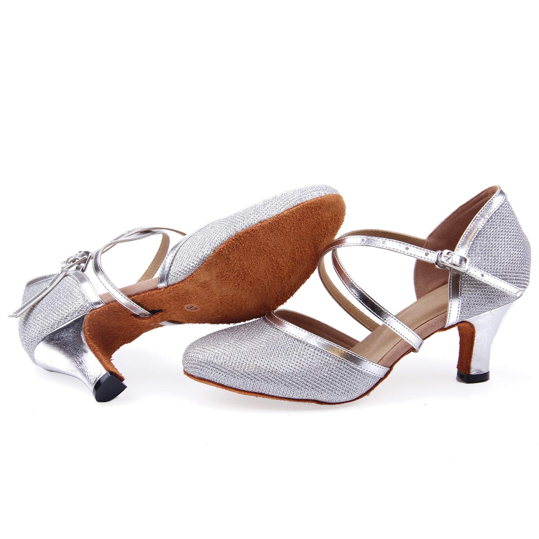 Naudamp Femmes Bandouli/ère en Salsa Danse Salle de Bal Latin Talons Hauts Danse Chaussures