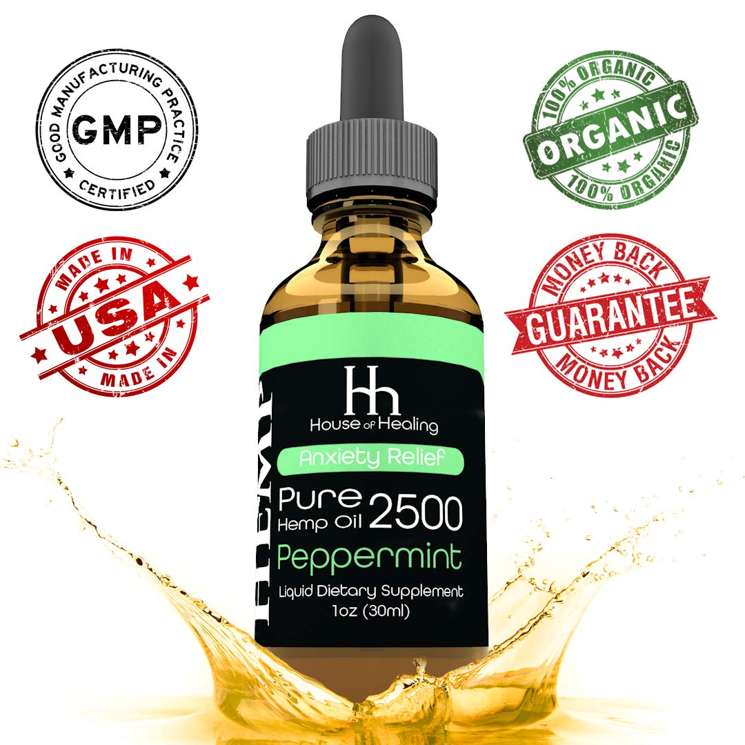 House of Healing Hemp Oil for Pain & Anxiety Relief - 2500mg - Hemp Oil Drops - Natural Hemp Oils May Help With Sleep, Mood, Migraines & Stress - Rich in Omega 3,6,9 - Hemp Extract - Peppermint Flavor
