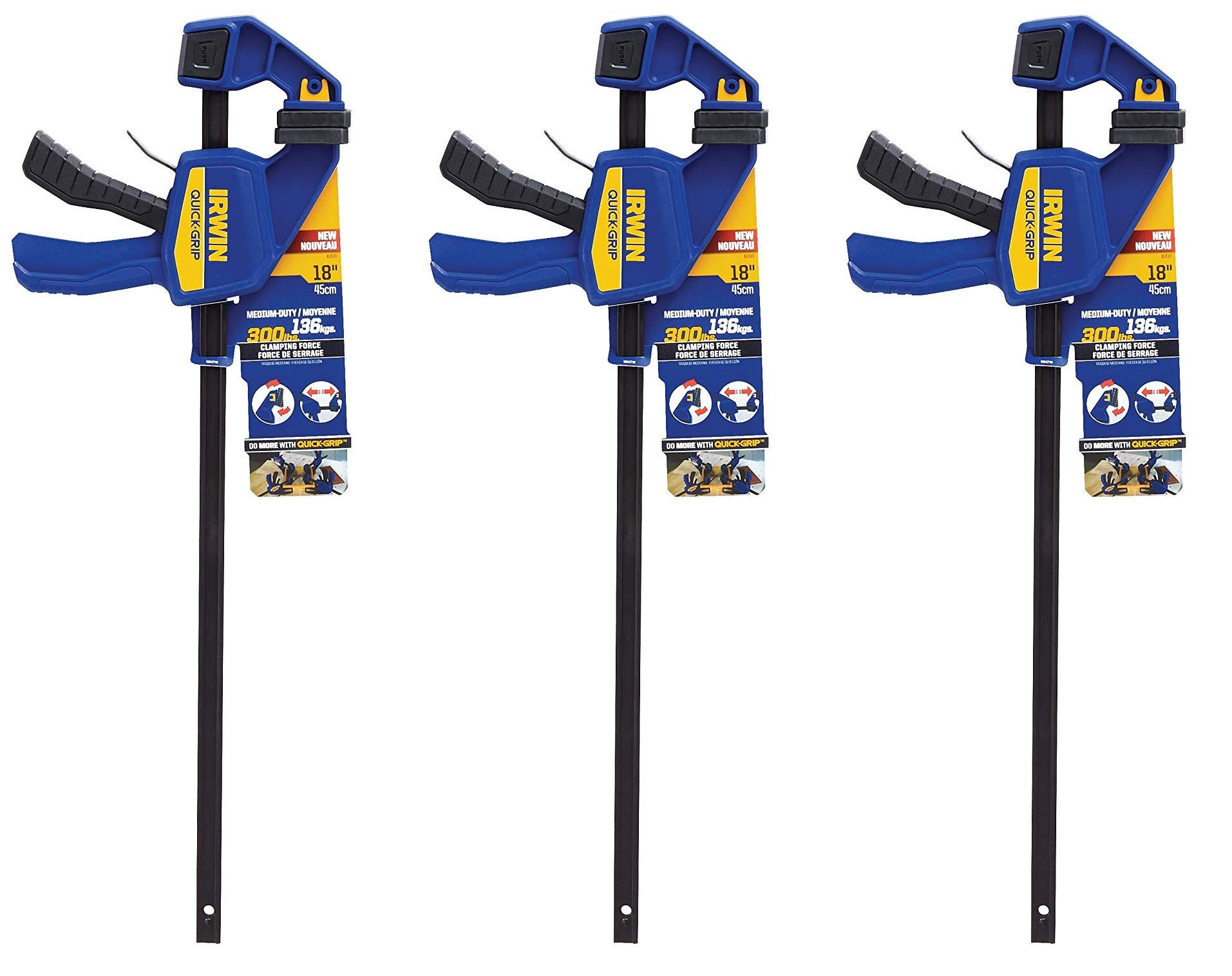 IRWIN QUICK-GRIP One-Handed Bar Clamp, Medium-Duty, 18'', 3 Pack, 1964719 by Irwin Tools (Image #1)