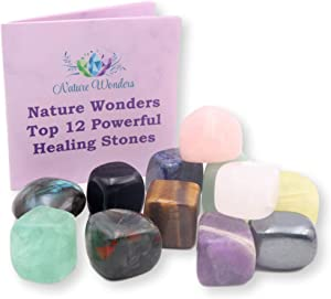 NatureWonders Top 12 Powerful Healing Stones + Booklet + Pouch, All Natural, Finished with Beeswax, Meditation, Energy Healing, Crystal Healing, Reiki, Chakra Healing