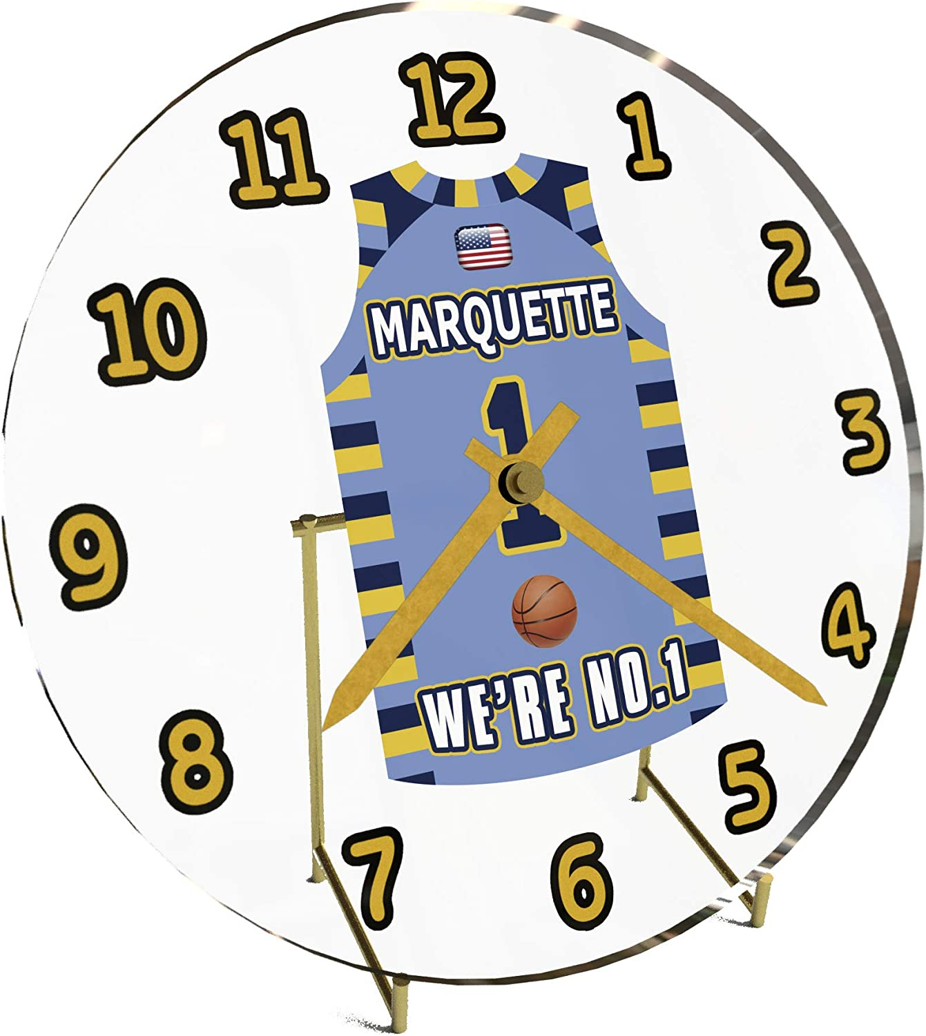 FanPlastic College Basketball USA - We're Number ONE College Hoops Jersey Themed Desktop Clocks - Support Your Team !!!