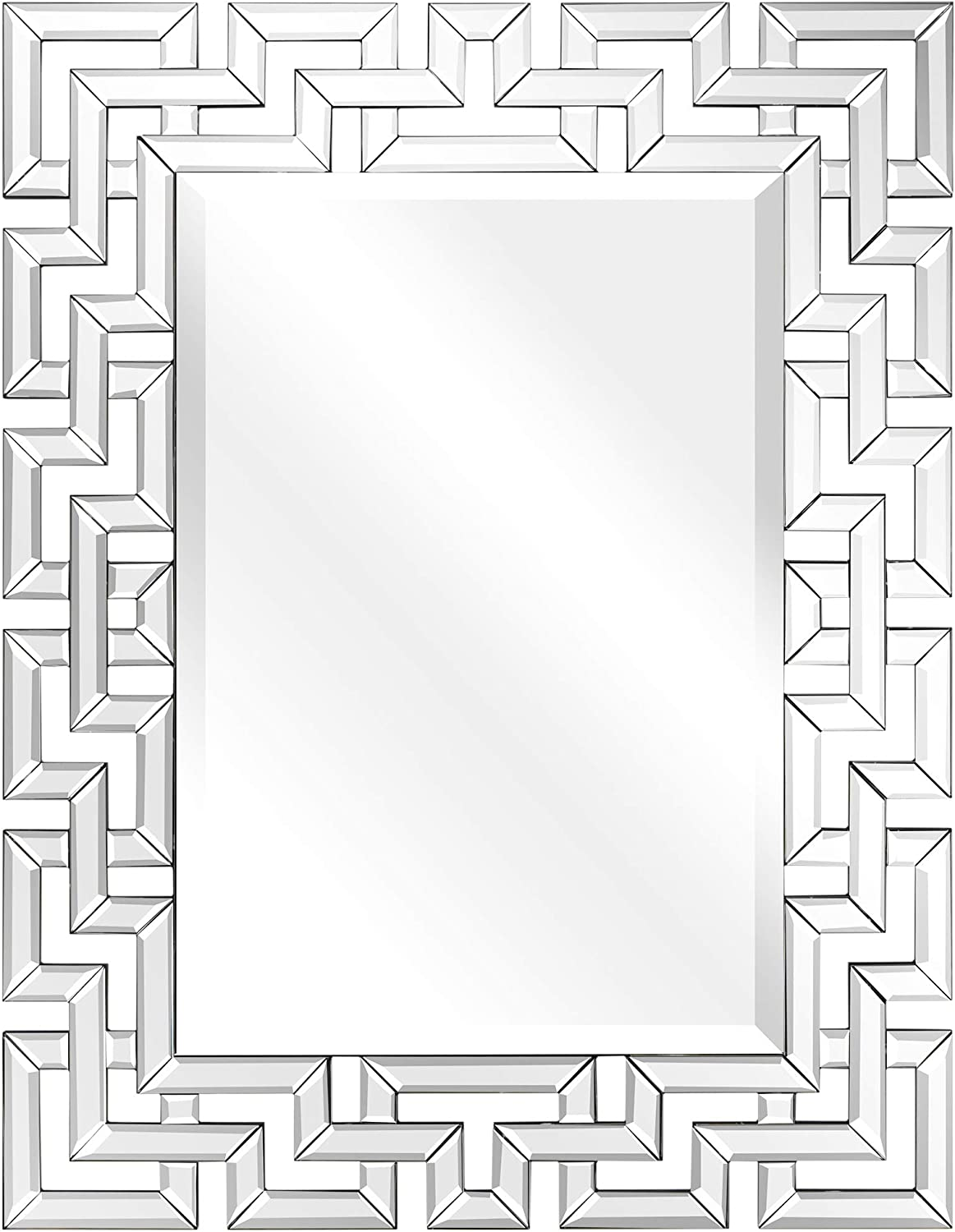 Amazon Com Empire Art Direct Wall Elegant Geometry Decorative Rectangular 0 75 Beveled Antique Mirror For Bathroom Bedroom Living Room Ready To Hang 31 X 40 Clear Home Kitchen
