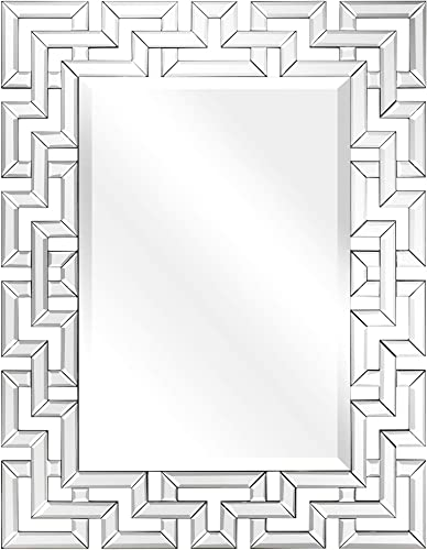 Empire Art Direct Wall, Elegant Geometry Decorative Rectangular, 0.75 -Beveled Antique Mirror for Bathroom,Bedroom,Living Room,Ready to Hang, 31 x 40 , Clear