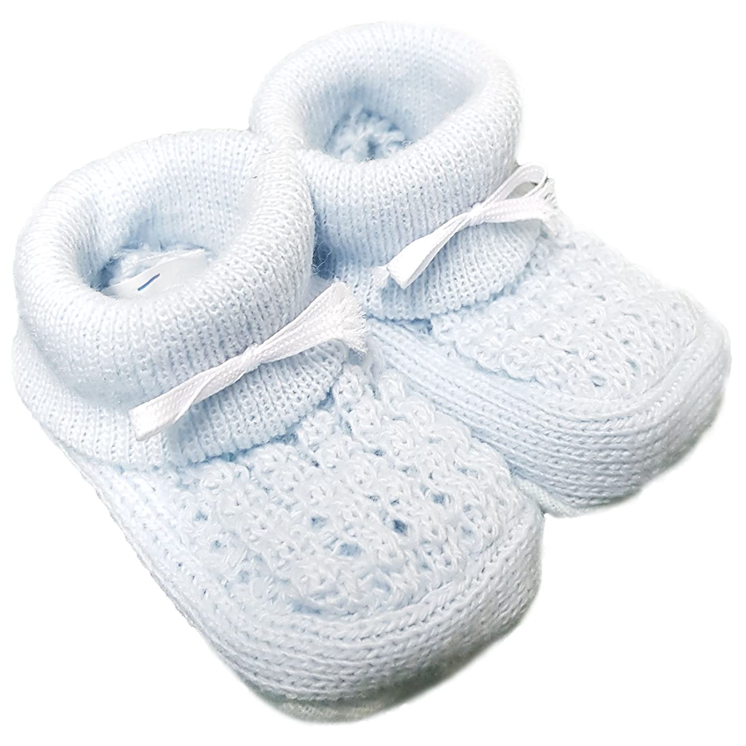 angelkids Baby Boys Girls 1 Pair Turnover Baby Booties Soft Knitted Booties New Born to 3 Months Approx 1045