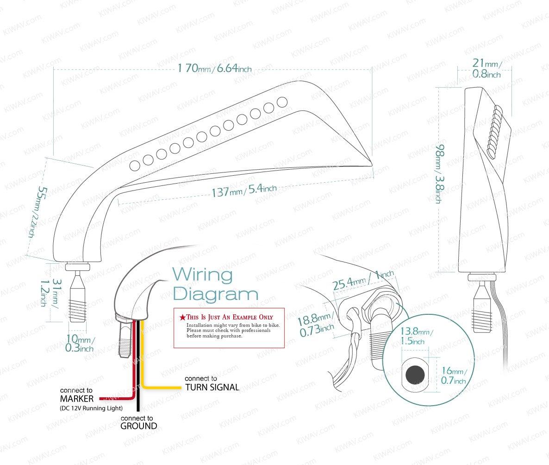 Kiwav Axe Black Style Mirrors 10mm Standard Thread W Led Bobber Softail Wiring Diagram Turn Signals Motorcycle Naked Bike Automotive