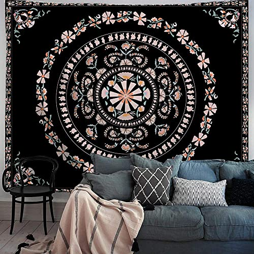 PROCIDA Mandala Tapestry Floral Flower Medallion Tapestry Black Bohemian Hippie Wall Hanging Blanket for Dorm College Bedroom Living Room Decor with Nails, 90 W x 71 H,Black