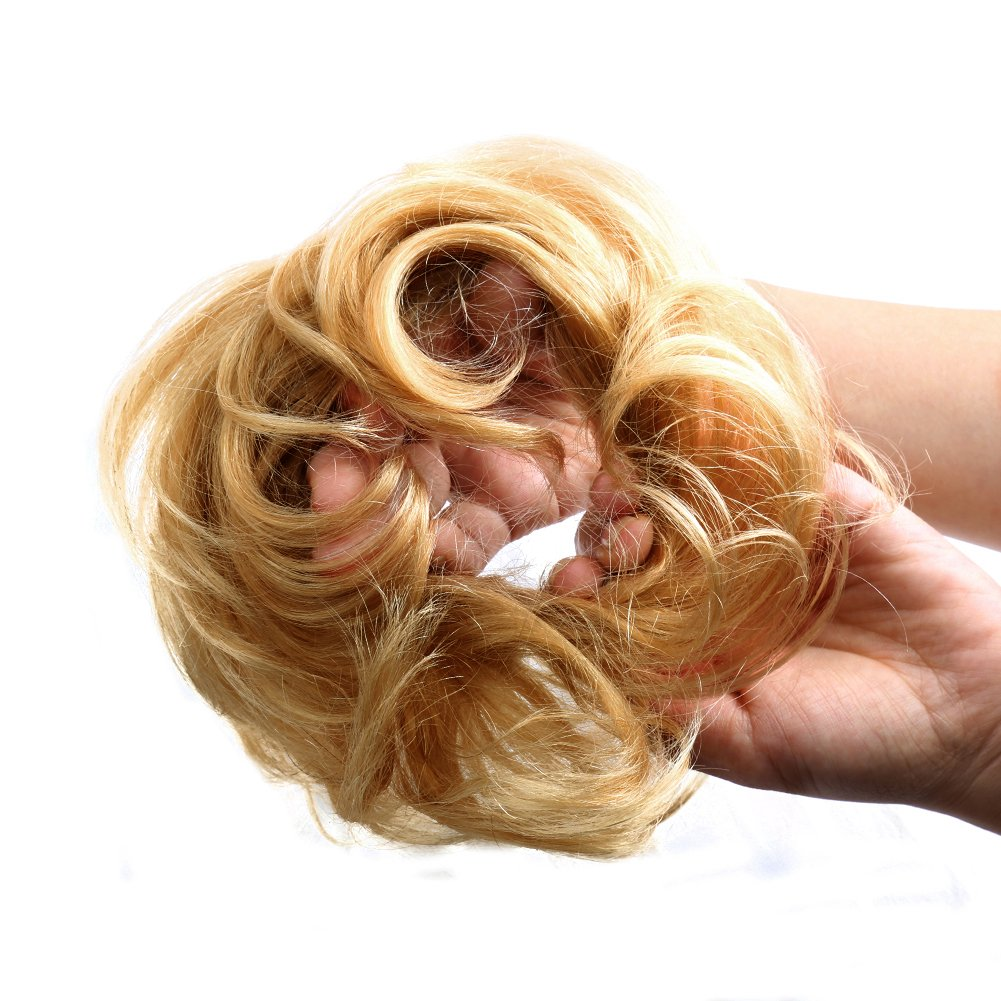 Bella Hair 100% Human Scrunchie Bun Up Do Hair Pieces Wavy Curly or Messy Ponytail Extension (#27 Strawberry Blonde/Light Butterscotch Blonde) by Bella Hair