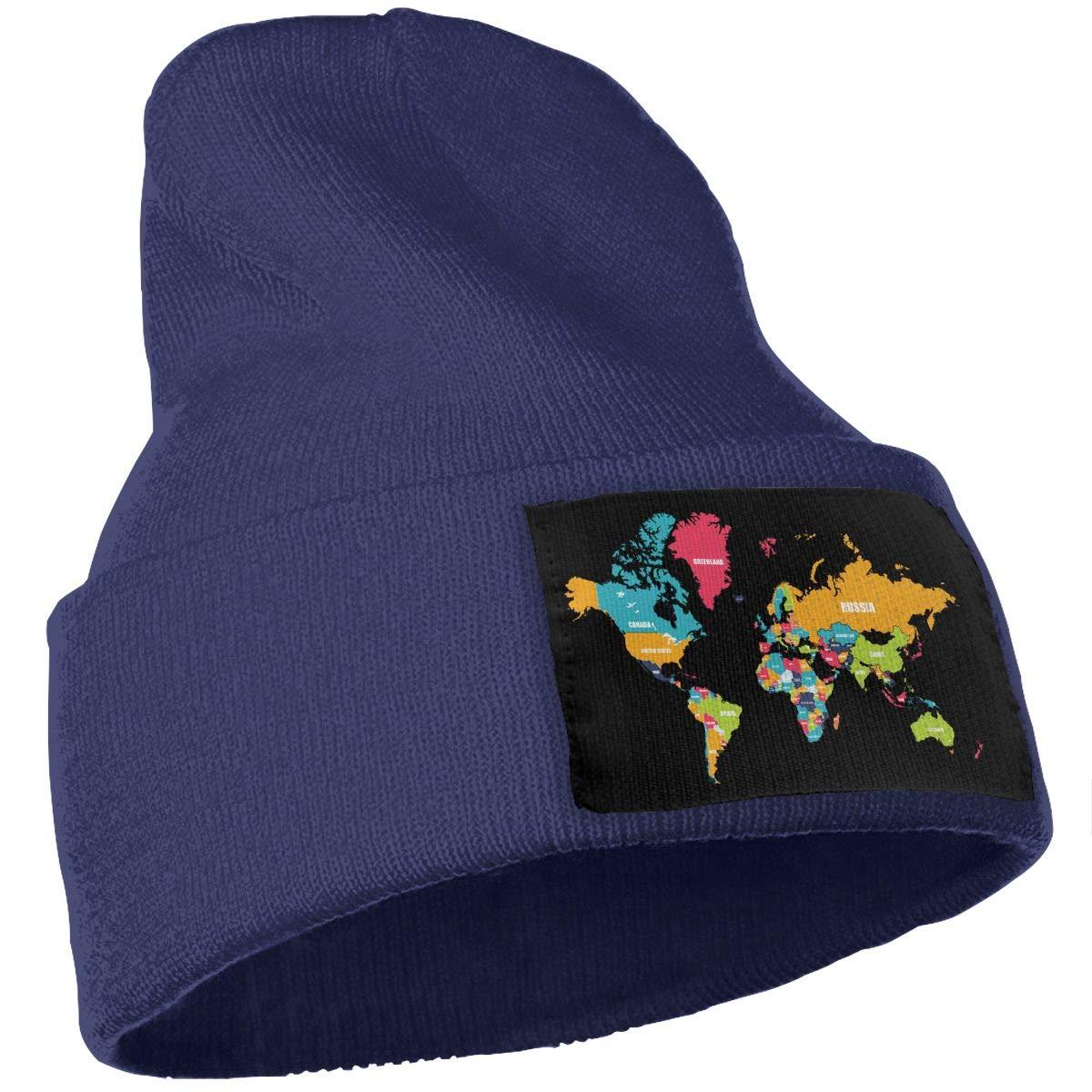 COLLJL-8 Unisex World Map Outdoor Stretch Knit Beanies Hat Soft Winter Knit Caps