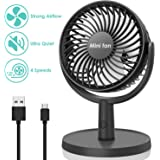 COMLIFE Mini Desk Fan, USB Operated Fan with 4 Speeds, Strong Airflow, Ultra Quiet Operation, 310° Adjustment, Portable Personal Fan for Home Office Desktop (Black)
