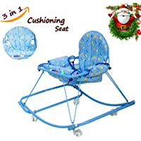 Baybee 3 in 1 Printed Baby Walker - Deluxe Baby Walker Cum Rocker and Hanging Cushion Chair for 6-12 Months Baby boy and Girl (Orange)