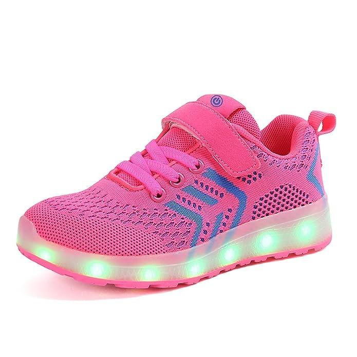 Axcer Unisex Kinder LED Schuhe 7 Farbe USB Aufladen Led Leuchtend Outdoor Sportschuhe Low Top Atmungsaktives Ultraleicht Lauf