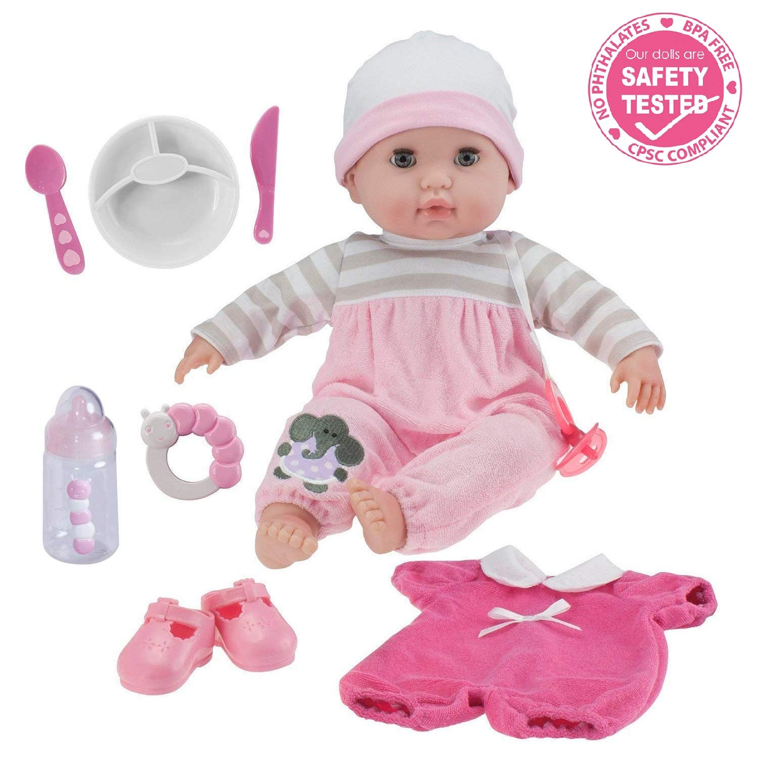 Berenguer Boutique 15'' Soft Body Baby Doll - Pink 10 Piece Gift Set with Open/Close Eyes- Perfect for Children 2+ by JC Toys