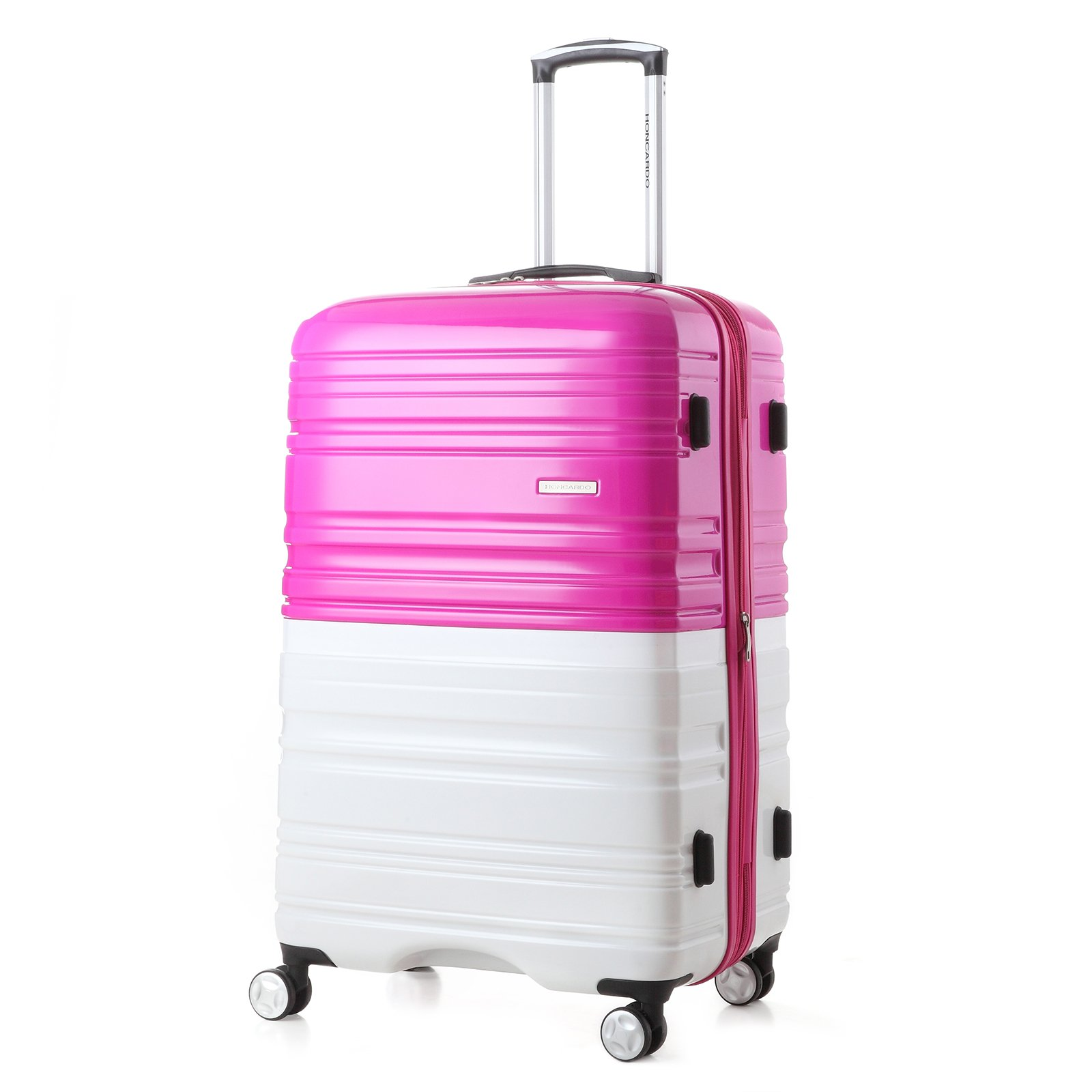 2 Pack Love Box[Boy and girl,daddy and boy,mommy and girl] 20''-28'' Luggage 360° Spinner Wheels Trolley Suitcase TSALock Travel Carryon Bag Hardside Travelhouse (Pink+White) by Chiuer (Image #2)