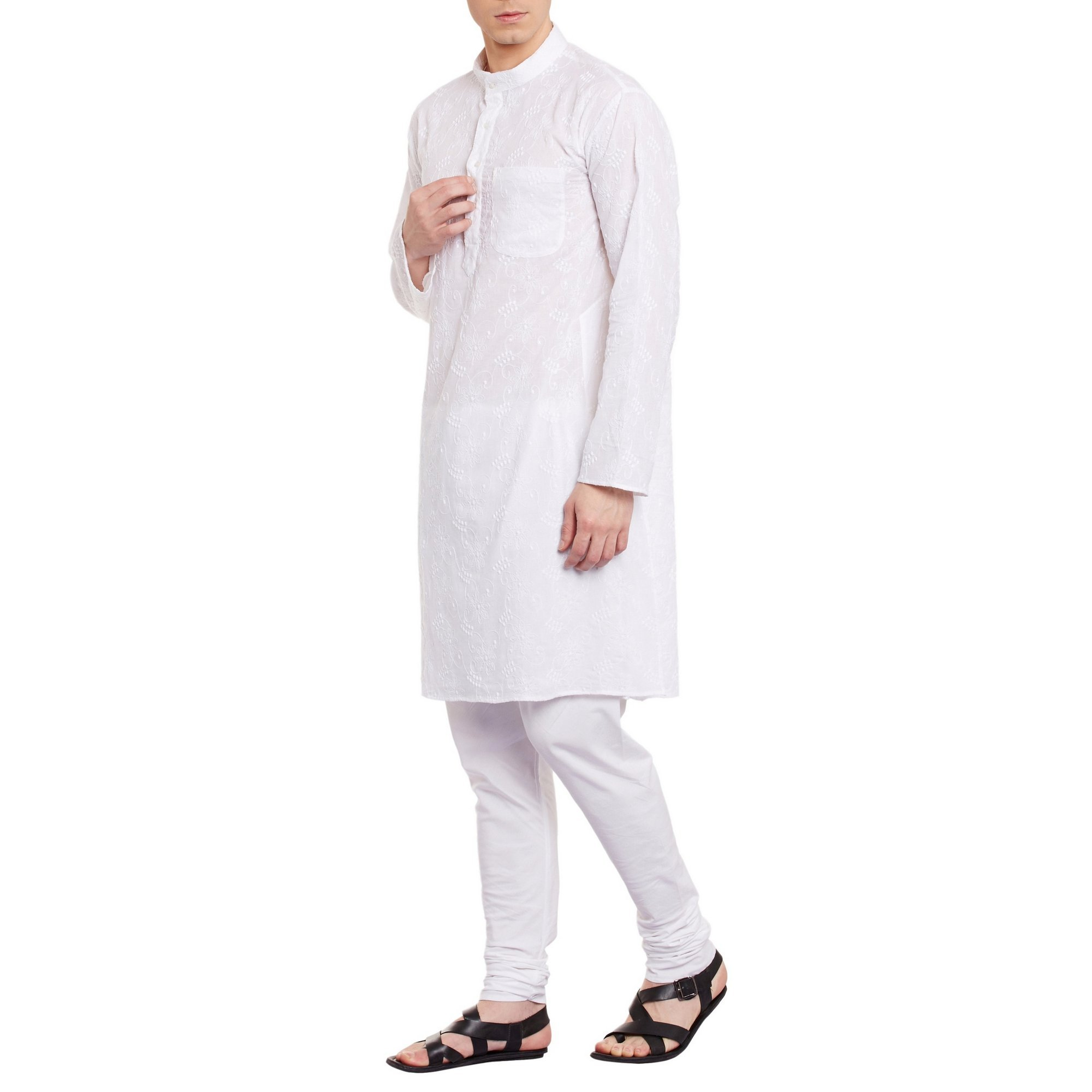ShalinIndia Mens Embroidered Cutwork Cotton Kurta With Churidar Pajama Trousers Machine Embroidery,White Chest Size: 42 Inch by ShalinIndia (Image #3)