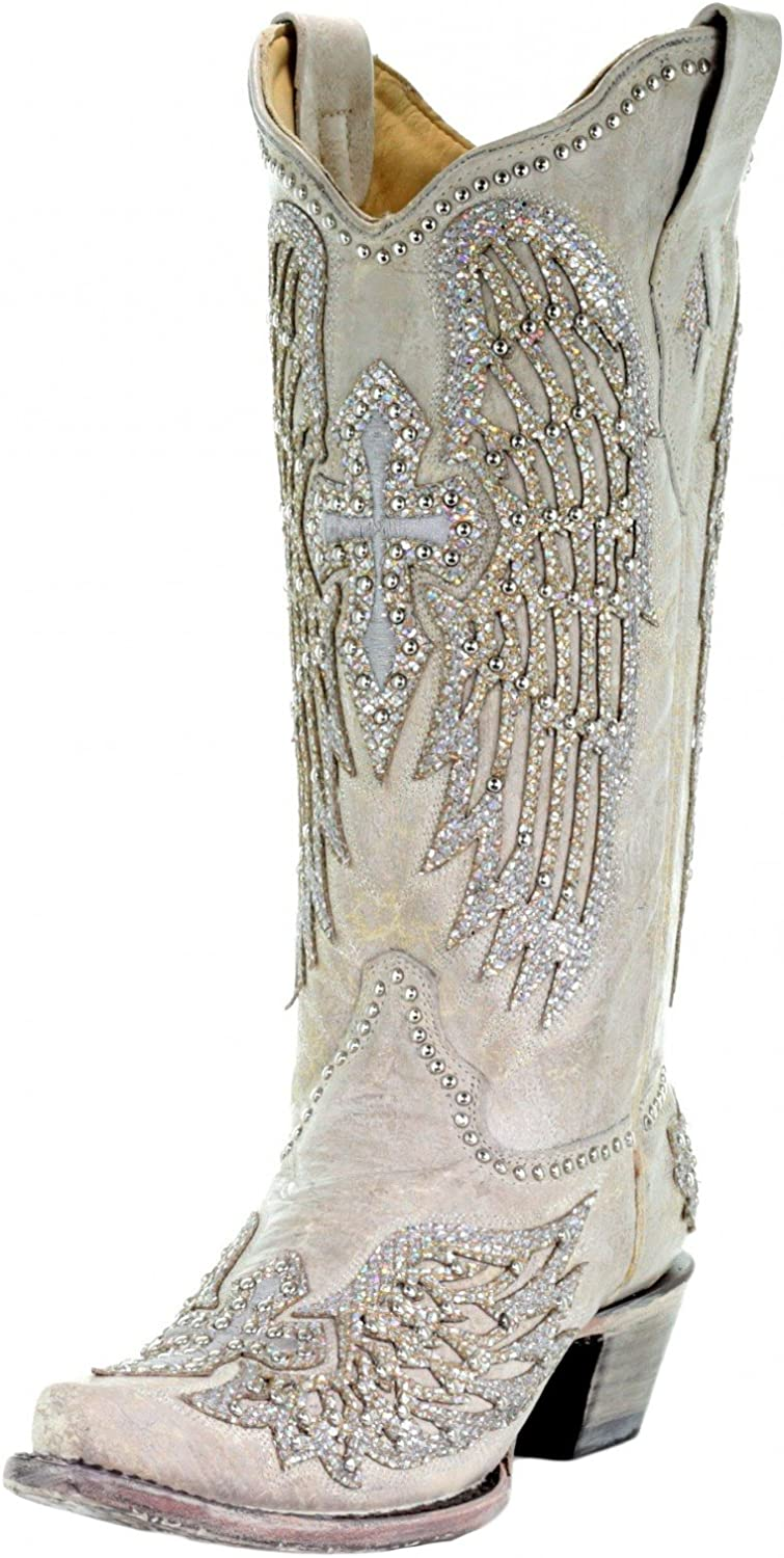 Corral Women's Cross & Wings Cowgirl Boots - White