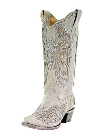 ae77ba6c87b CORRAL Women's White Cross Wings Snip Toe Cowgirl Boots A3571 (10 B(M)