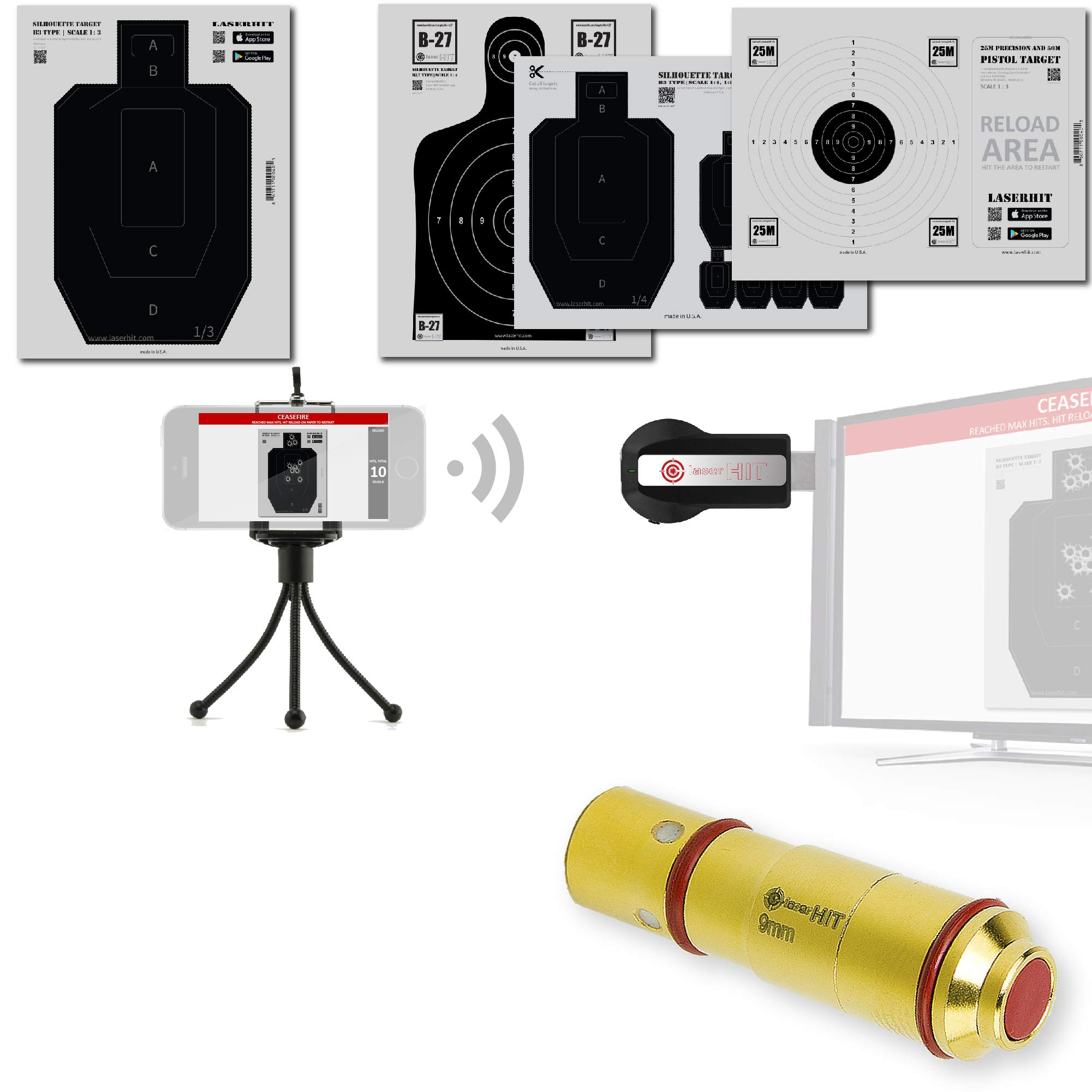LaserHIT Dry Fire Training Kit (iOS, 9mm/HD Wireless Mini)