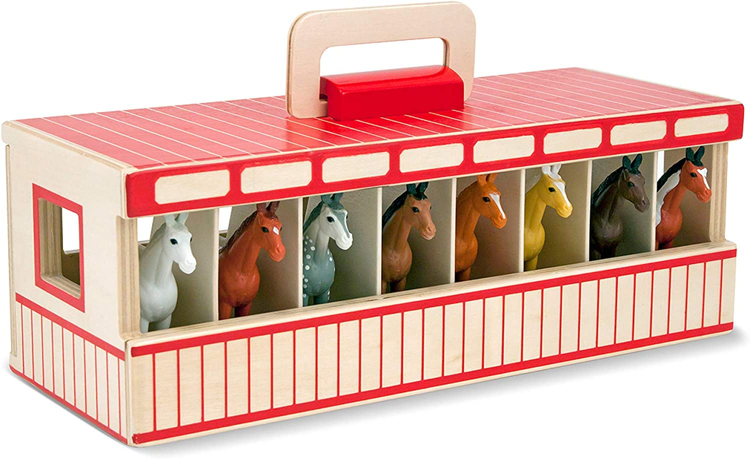 B00A8DJ06O Melissa & Doug Take-Along Show-Horse Stable Play Set (Pretend Play, Encourages Creative Learning, 8 Toy Horses, Great Gift for Girls and Boys - Best for 3, 4, 5 Year Olds and Up) 71H1bFOL40L
