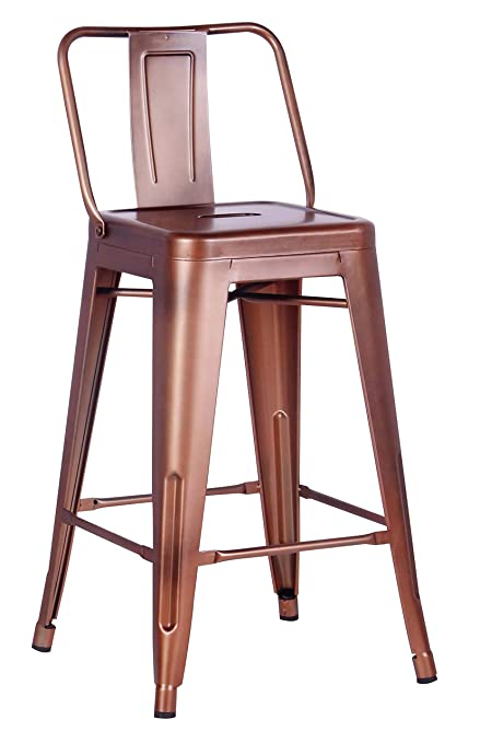 Amazoncom Distressed Metal Barstool With Back Vintage Copper 24