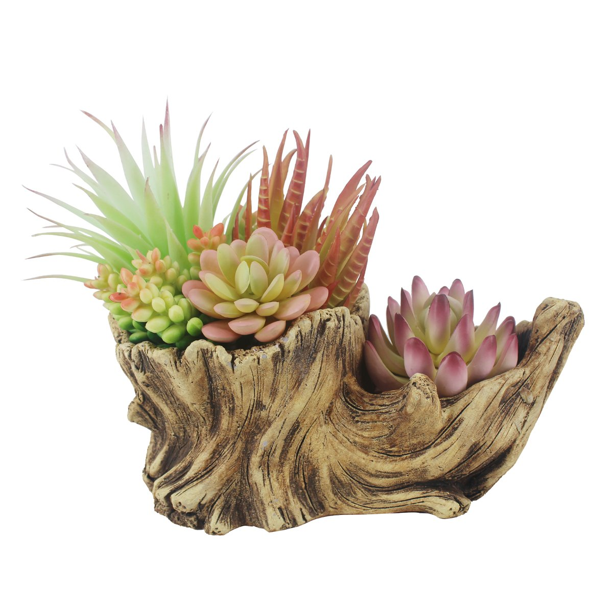 Greatflower Fake Resin Driftwood Stump Pot with Artificial Succulent Arrangement by Greatflower (Image #7)