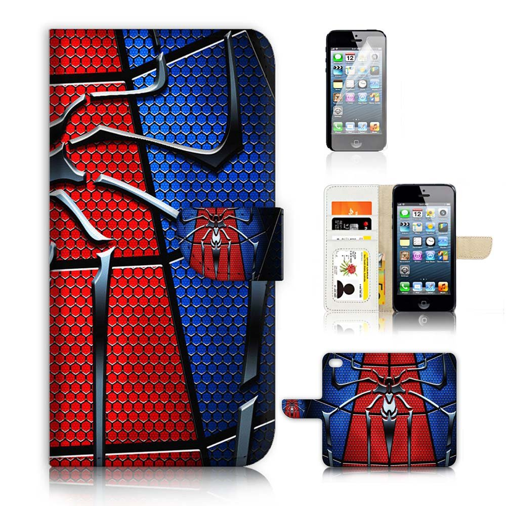 ( For iPhone 5 5S / iPhone SE ) Flip Wallet Case Cover and Screen Protector Bundle A8110 Spiderman