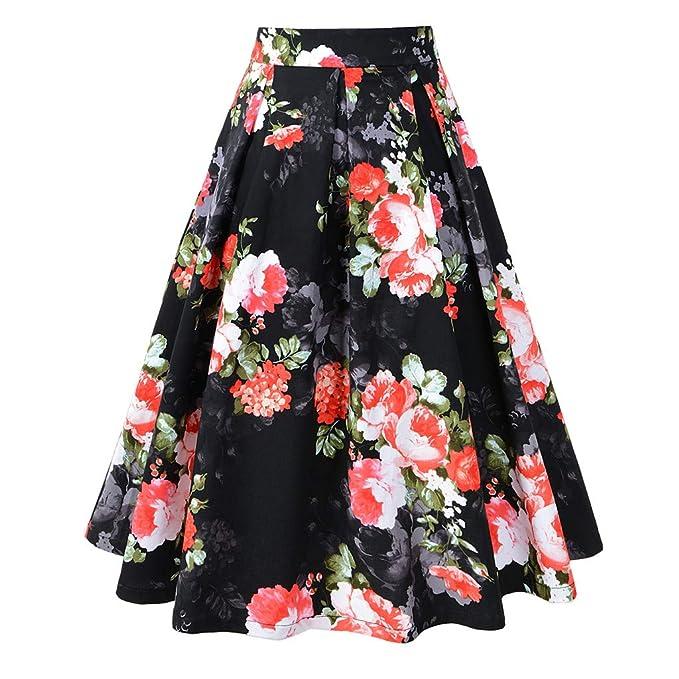 beautyjourney Falda Plisada Vintage para Mujer Falda Elegante a ...