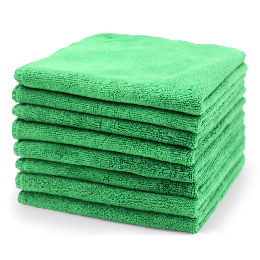 SURPRISE PIE Microfiber Cleaning Cloth Professional Grade Premium Towels for Car Wash Drying Green 400GSM Best Towels for Dusting, Scrubbing, Polishing, Absorbing -12'' x 12'' 8 Pack