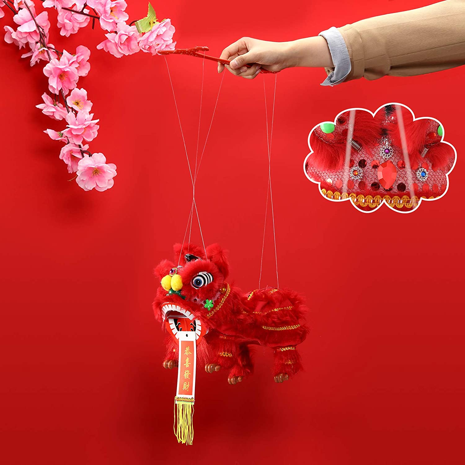 Chinese Lion Marionette Lion Puppets Chinese Hand Puppet Red Craft Hand String Puppet with Rod Chinese New Year Marionette Toy