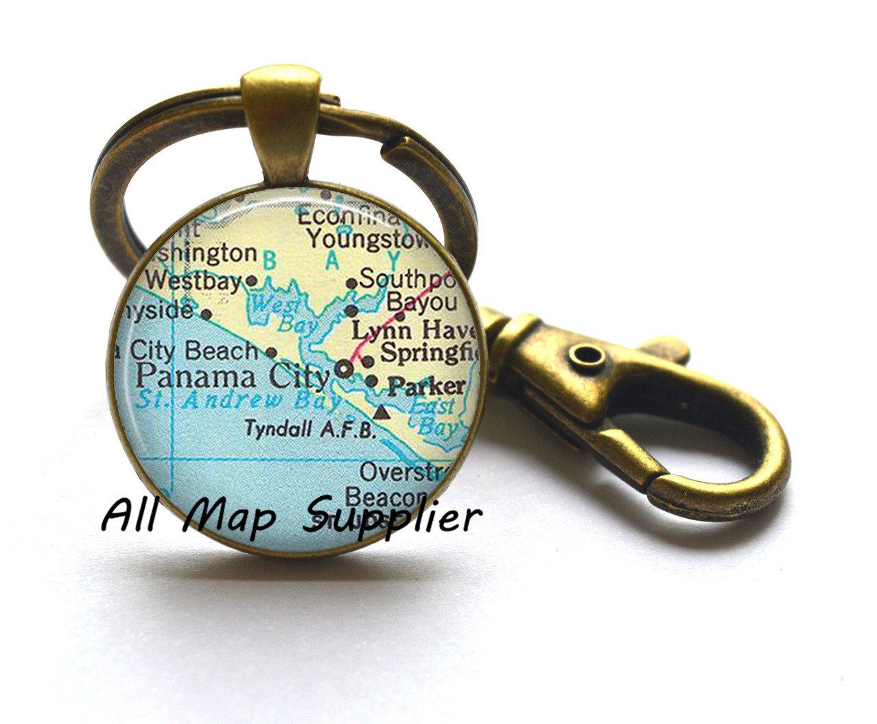 Amazon Com Charming Keychain Panama City Florida Map Keychain