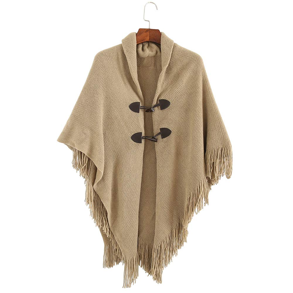 Women's Knitted Ponchos V Neck Pullover Poncho with Tassels for Women Khaki