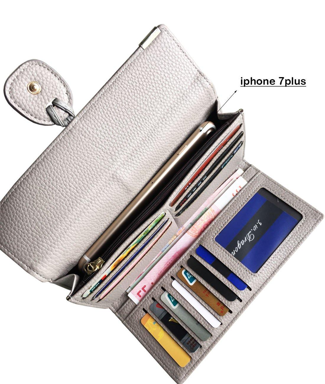 Rfid Blocking Leather wallet for women Girls,ladies long purse Large Capacity(Grey) by YOTOO (Image #4)