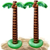 Kicko Inflatable Palm Tree - 2 Pack - 66 Inch Giant Tropical Inflate Party Accessory for Outdoor Activities, Summer Beach Lua