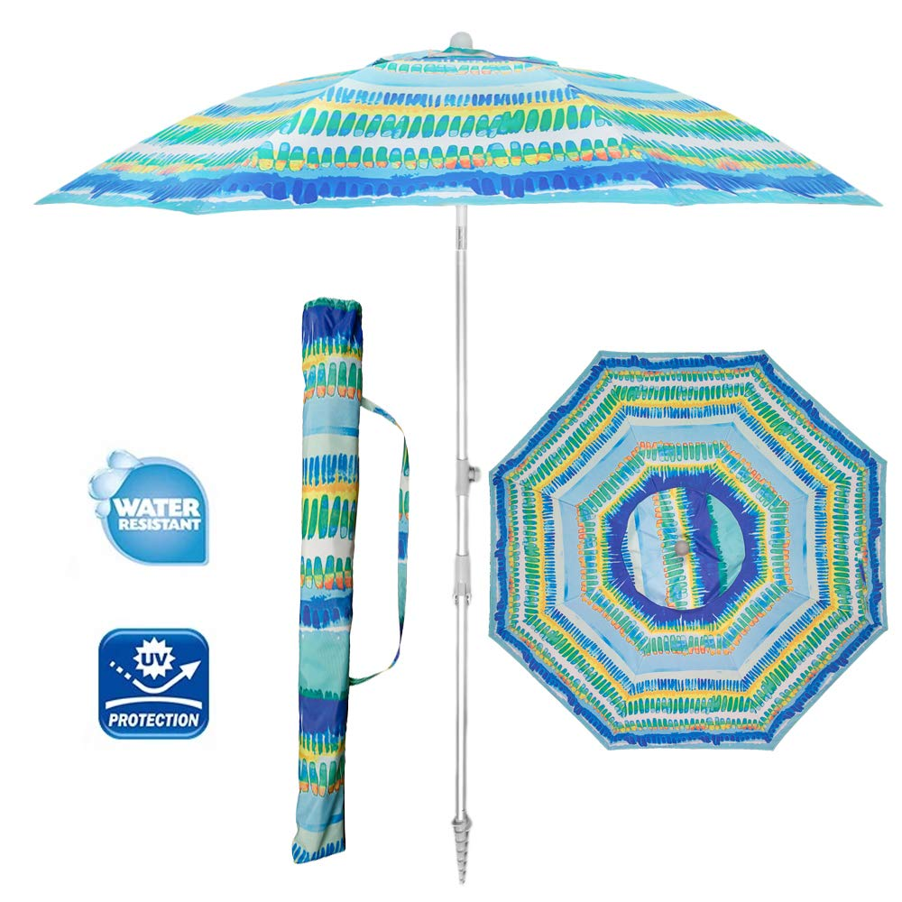 Snail 7 Foot Sun ray Protection UPF80+ Beach Umbrella -Portable Beach Umbrella with Sand Anchor & Carrying Bag -Sturdy Pole and Thicker Fiberglass Ribs for High Wind Resistance