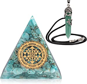 HEXER HAN Orgone Pyramid Turquoise Kit, 70MM Energy Generator Protection Crystal Pyramid Kit with Green Aventurine Pendant Necklace for Prosperity/Meditation/Yoga/Home Decor/Tarot/Wicca