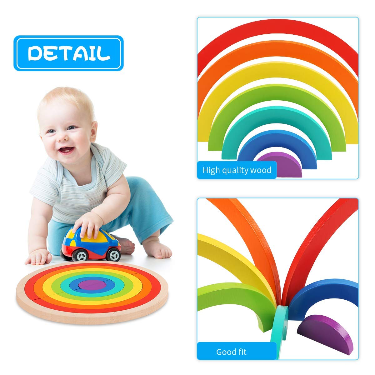 14Pcs M-Aimee Wooden Rainbow Stacking Game Learning Toy Geometry Building Blocks Nesting Stacker Colorful Educational Toys Puzzle for Kids Baby Toddlers Children