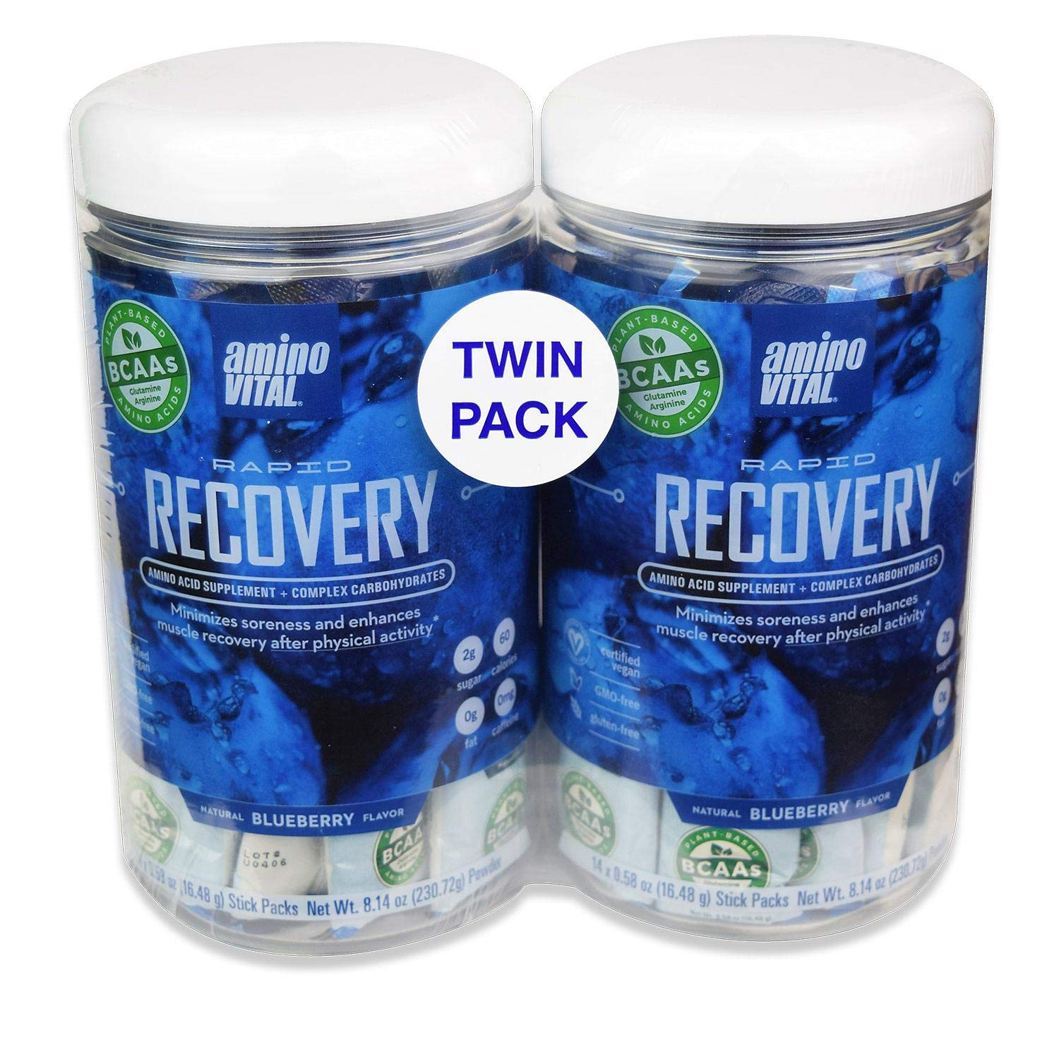 Amino Vital Rapid Recovery Twin Pack, Natural Blueberry Powdered Single-Serving Drink Mix 28 pk. (Pack of 4) A1