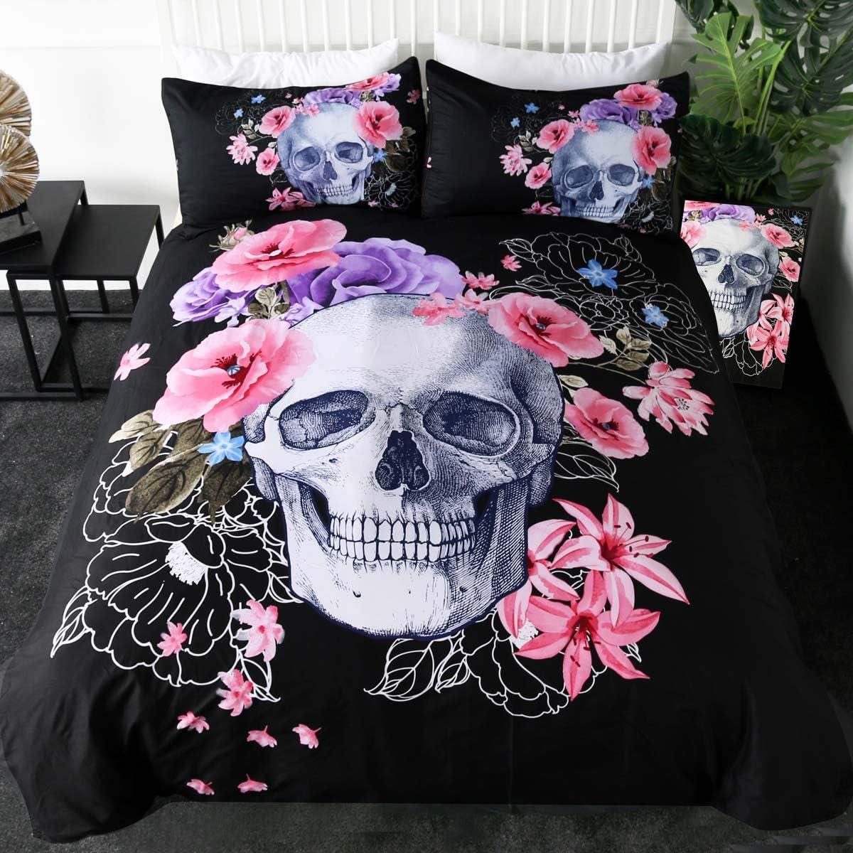 Sleepwish Poppy Rose Skull Bedding Set 3D Floral Skull Printed Duvet Cover 3 Pieces Black Purple Skeleton Bedspreads (Queen)