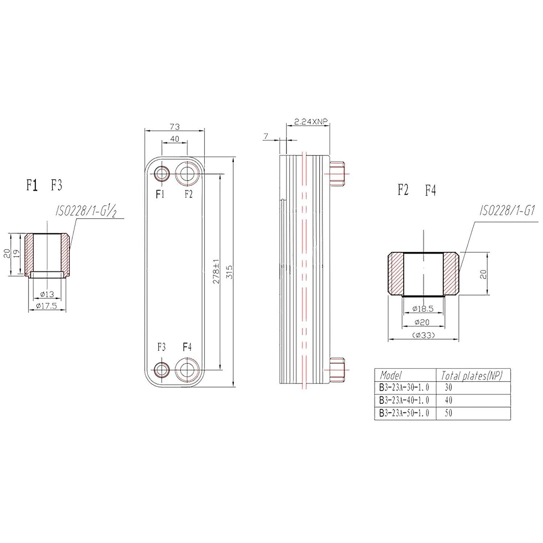 Wiltec - Intercambiador de calor (40 placas, inoxidable, máx. 165 kW): Amazon.es: Bricolaje y herramientas