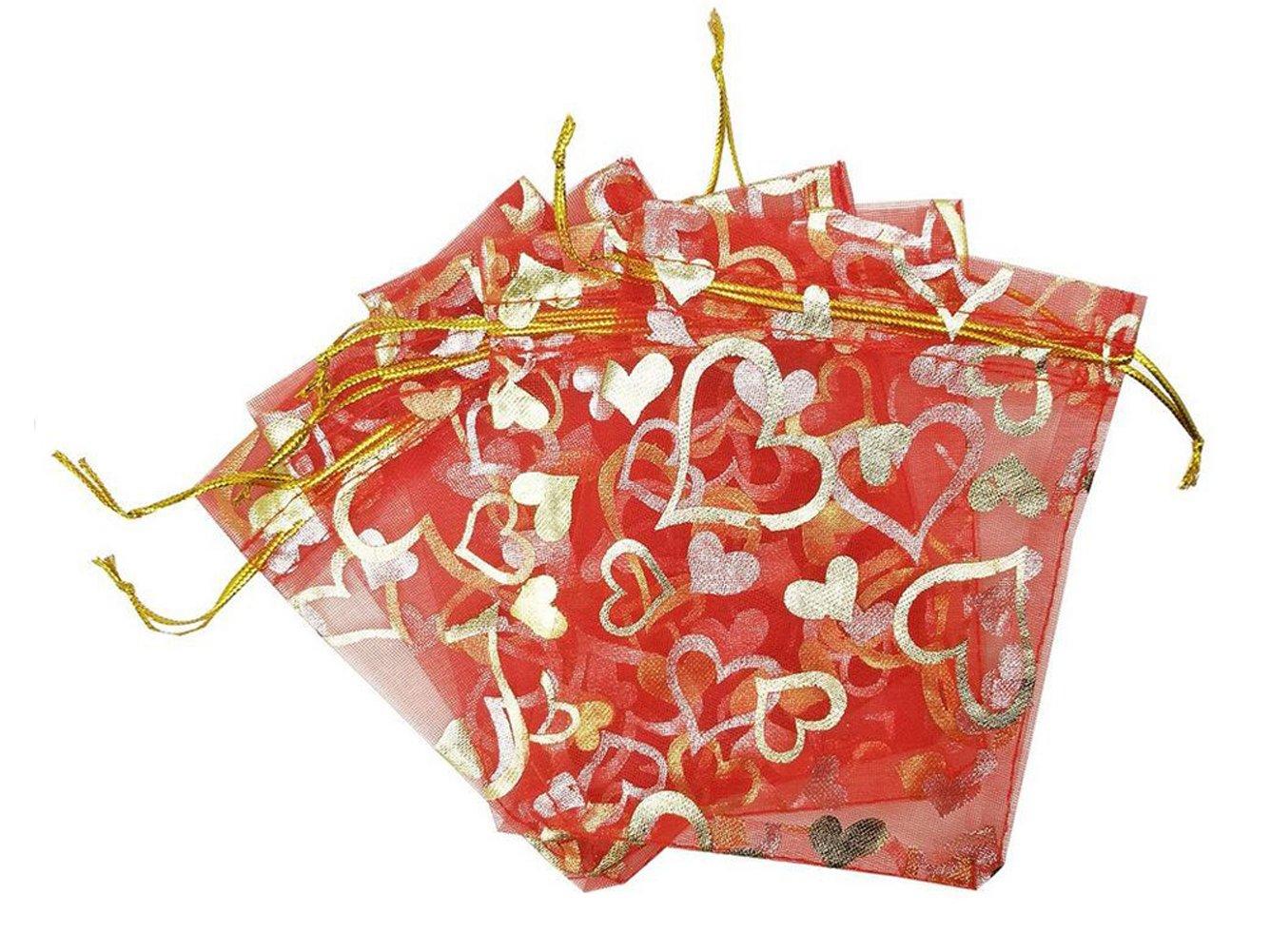 100pcs 12,7x 17,8cm/13cm x 18cm Cœur Imprimé Organza Cordon de serrage Sacs pochettes d'emballage cadeau échantillon écran Tulle poches Wrapper Organiseur de salle de bain pour Candy Bijoux fête mariage Noël dragées, rose rouge, 5'' x 7'' 5''